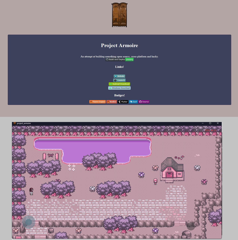 Screenshot of web and game